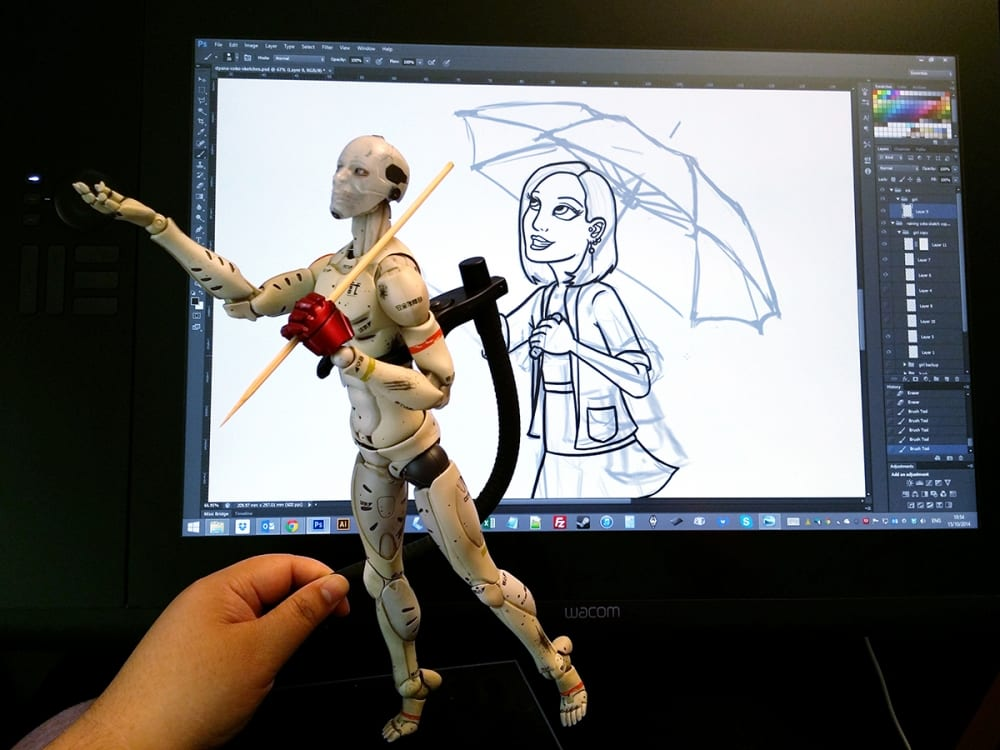 1/6 Synthetic Human Test Body - Dyana commission sketch (2014)