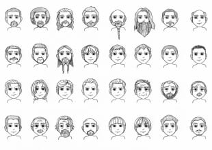 Male Hair and Beards reference chart 2 (2013)